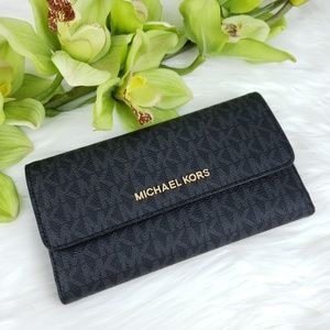 🌺NWT Michael Kors LG Trifold Wallet Black MK logo